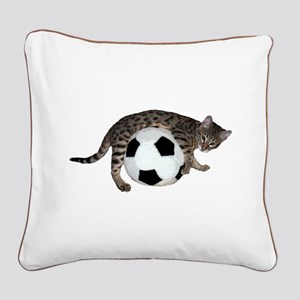 Cat Soccer - Square Canvas Pillow