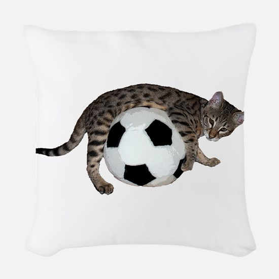 Cat Soccer - Woven Throw Pillow