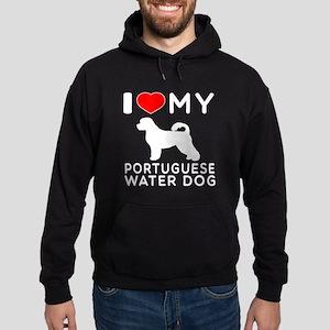 I Love My Dog Portuguese Water Dog Hoodie (dark)