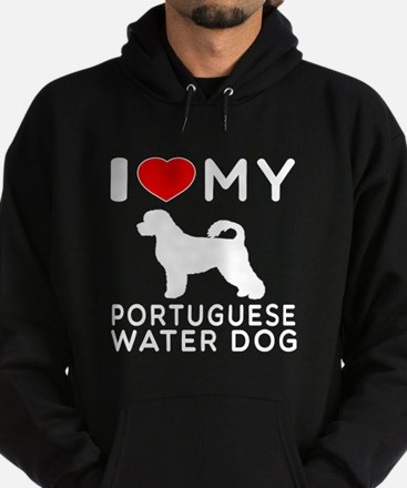 I Love My Dog Portuguese Water Dog Hoodie (dark)