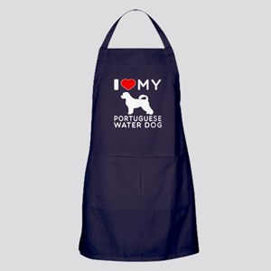 I Love My Dog Portuguese Water Dog Apron (dark)