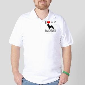 I Love My Dog Portuguese Water Dog Golf Shirt