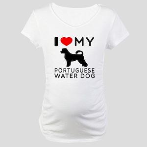 I Love My Dog Portuguese Water Dog Maternity T-Shi