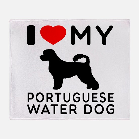 I Love My Dog Portuguese Water Dog Throw Blanket