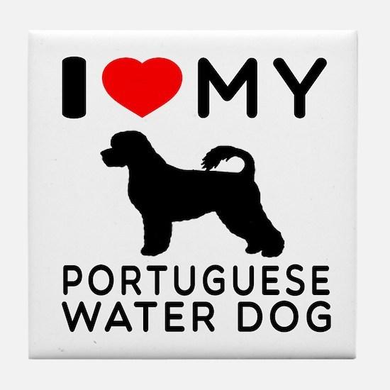 I Love My Dog Portuguese Water Dog Tile Coaster