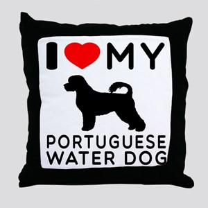 I Love My Dog Portuguese Water Dog Throw Pillow