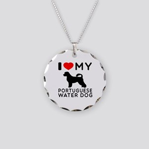 I Love My Dog Portuguese Water Dog Necklace Circle