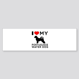 I Love My Dog Portuguese Water Dog Sticker (Bumper