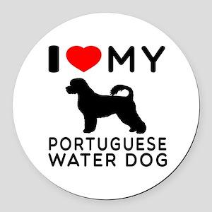 I Love My Dog Portuguese Water Dog Round Car Magne