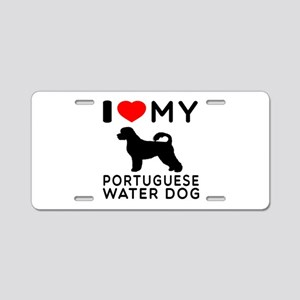 I Love My Dog Portuguese Water Dog Aluminum Licens