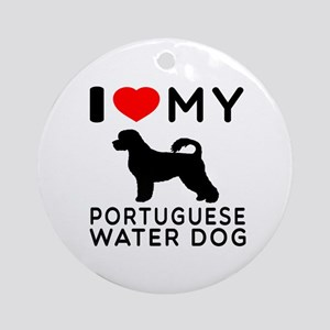 I Love My Dog Portuguese Water Dog Ornament (Round