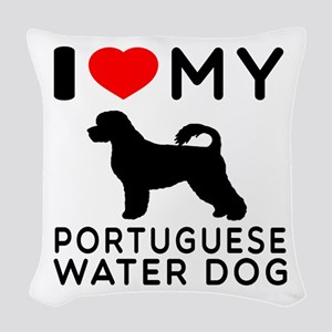 I Love My Dog Portuguese Water Dog Woven Throw Pil