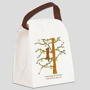 A Dachshund in a Pear Tree Canvas Lunch Bag