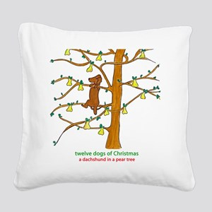 A Dachshund in a Pear Tree Square Canvas Pillow