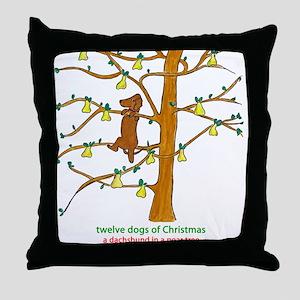 A Dachshund in a Pear Tree Throw Pillow