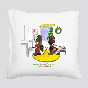 Two Bassets Baking Square Canvas Pillow
