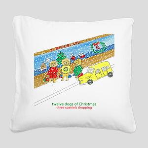 Three Spaniels Shopping Square Canvas Pillow
