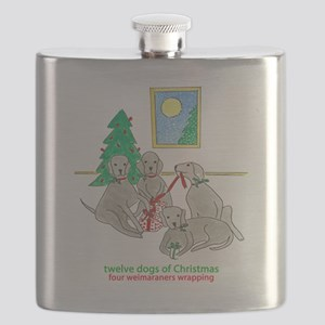 Four Weimaraners Wrapping Flask