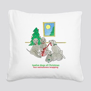 Four Weimaraners Wrapping Square Canvas Pillow