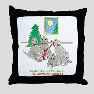 Four Weimaraners Wrapping Throw Pillow