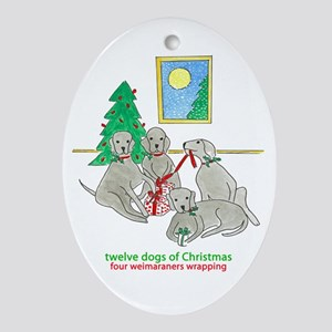 Four Weimaraners Wrapping Ornament (Oval)