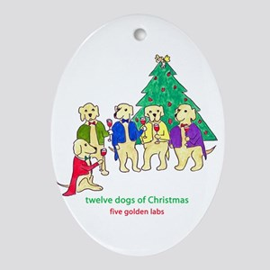 Five Golden Labs Ornament (Oval)