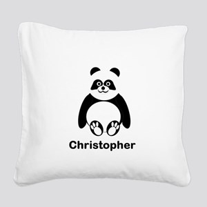 Personalized Panda Bear Square Canvas Pillow