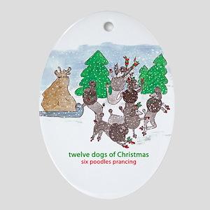 Six Poodles Prancing Ornament (Oval)