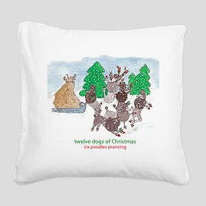 Six Poodles Prancing Square Canvas Pillow