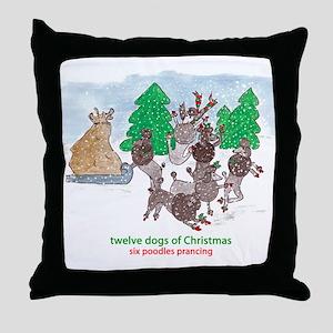 Six Poodles Prancing Throw Pillow