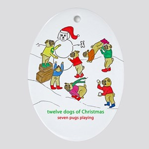 Seven Pugs Playing Ornament (Oval)