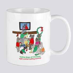 Eight Scotties Stuffing Stockings Mugs