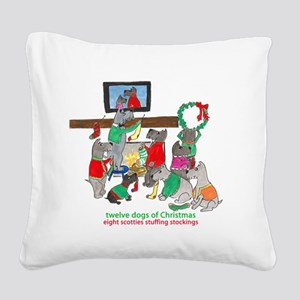 Eight Scotties Stuffing Stockings Square Canvas Pi
