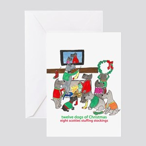 Eight Scotties Stuffing Stockings Greeting Cards