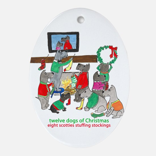 Eight Scotties Stuffing Stockings Ornament (Oval)