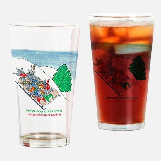 Eleven Schnauzers Sledding Drinking Glass
