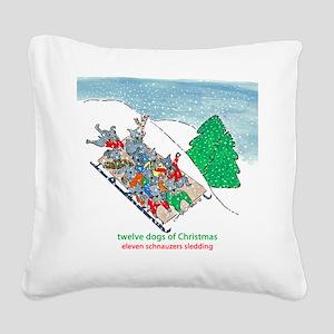 Eleven Schnauzers Sledding Square Canvas Pillow
