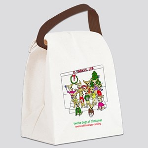 Twelve Chihuahuas Caroling Canvas Lunch Bag