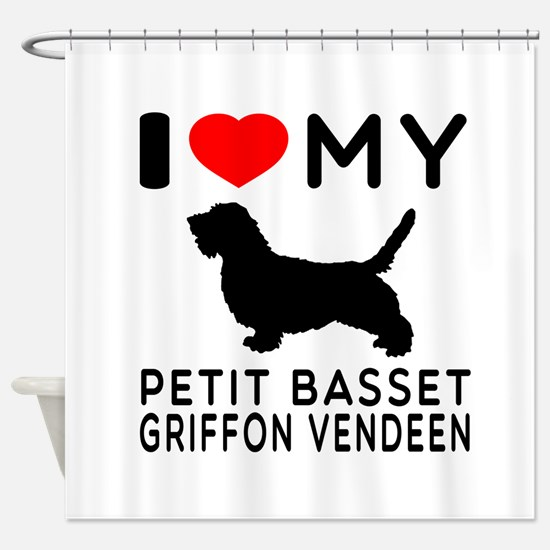 I Love My Petit Basset Griffon Vendeen Shower Curt