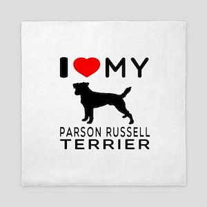 I Love My Parson Russell Terrier Queen Duvet