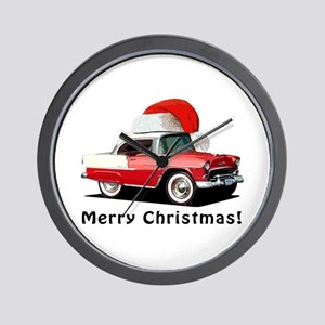 BabyAmericanMuscleCar_55BAXmas_red Wall Clock