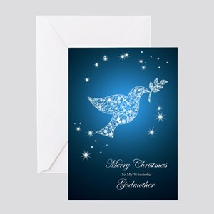 For godmother, Dove of peace Christmas card Greeti