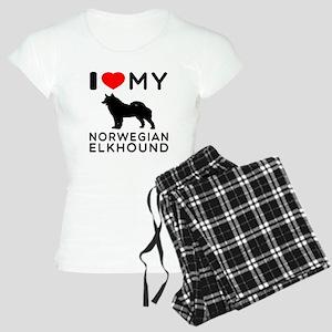 I Love My Norwegian Elkhound Women's Light Pajamas