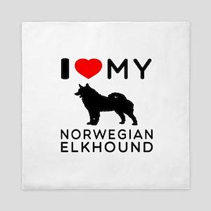 I Love My Norwegian Elkhound Queen Duvet