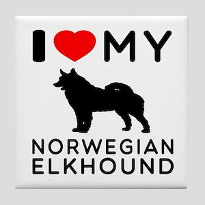 I Love My Norwegian Elkhound Tile Coaster