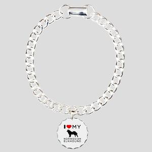 I Love My Norwegian Elkhound Charm Bracelet, One C