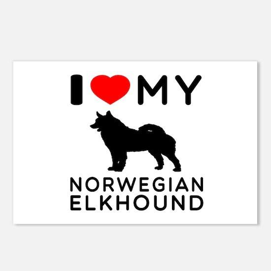 I Love My Norwegian Elkhound Postcards (Package of