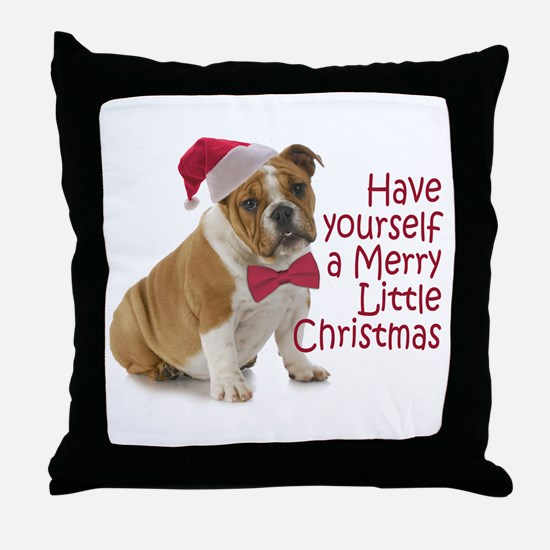 Santa Bulldog Throw Pillow