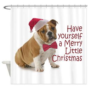 English Bulldog Christmas Shower Curtains