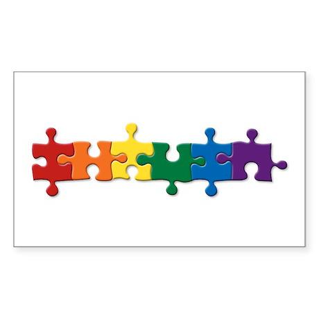 Puzzle Pride Rectangle Sticker